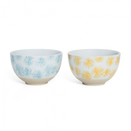 Small Bowl Set | Blue & Yellow Palm
