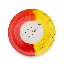 Swish Dinner Plate | Red & Yellow