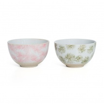 Small Bowl Set | Green & Pink Palm